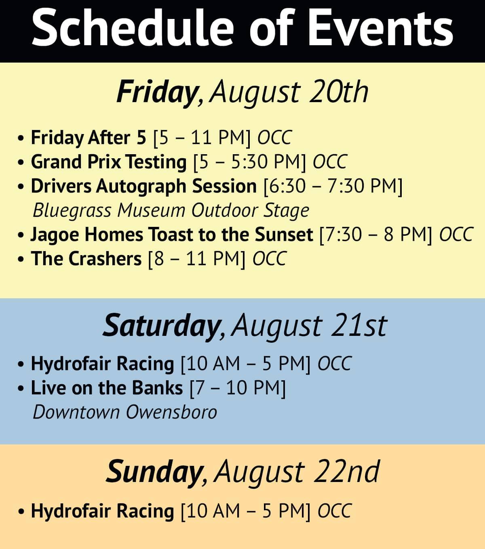 Owensboro HydroFair Schedule of Events