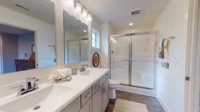 Jagoe Model HomesCumberland CraftsmanLone Oak VillageLouisville, KYowner's bath, bathroom design, master bath, fiberglass shower stall