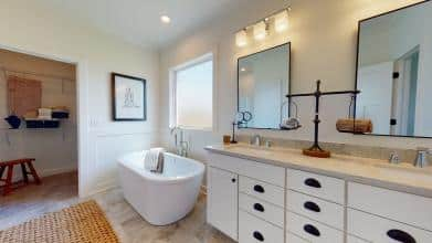 Jagoe Model HomesLittle Rock Craftsman w/ 3rd BayTurnberry at BerkshireNewburgh, INfree standing tub, american standard, richelieu mirrors, kichler tully lighting, double bowl vanity, bathroom, walk-in closet