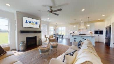 Jagoe Model HomesLittle Rock Craftsman w/ 3rd BayTurnberry at BerkshireNewburgh, INshiplap fireplace, napoleon, living area, interior design, home design