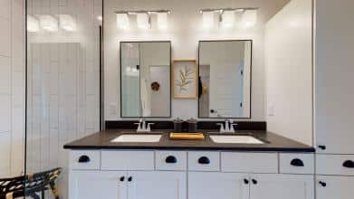 Jagoe Model HomesNational Craftsman w/ 3rd BayThe Reserve at Deer ValleyUtica, KYbathroom design, richlieu mirrors, drop in sinks, double bowl vanity, masterbrand cabinets, kichler lighting tully