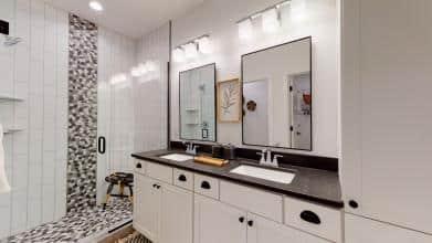Jagoe Model HomesNational Craftsman w/ 3rd BayThe Reserve at Deer ValleyUtica, KYceramic shower, bathroom design, emser pebble tile, subway tile
