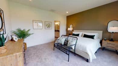 Jagoe Model HomesNational Craftsman w/ 3rd BayThe Reserve at Deer ValleyUtica, KYmaster bedroom, owner's suite, king bed, bedroom design